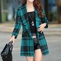 Fashion 2017 Autumn Winter Long Wool Coat For Women Plaid Outwear Slim Trench Long Coats Female ZMLM154