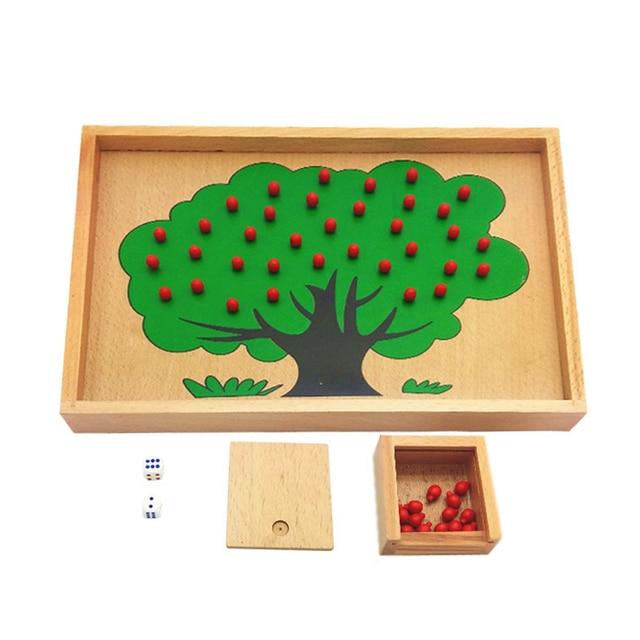 Монтессори Материалы Деревянные Apple Tree Box Игрушки Монтессори Игры Игрушки Развивающие Brain Training Play Обучения Детей Игрушки