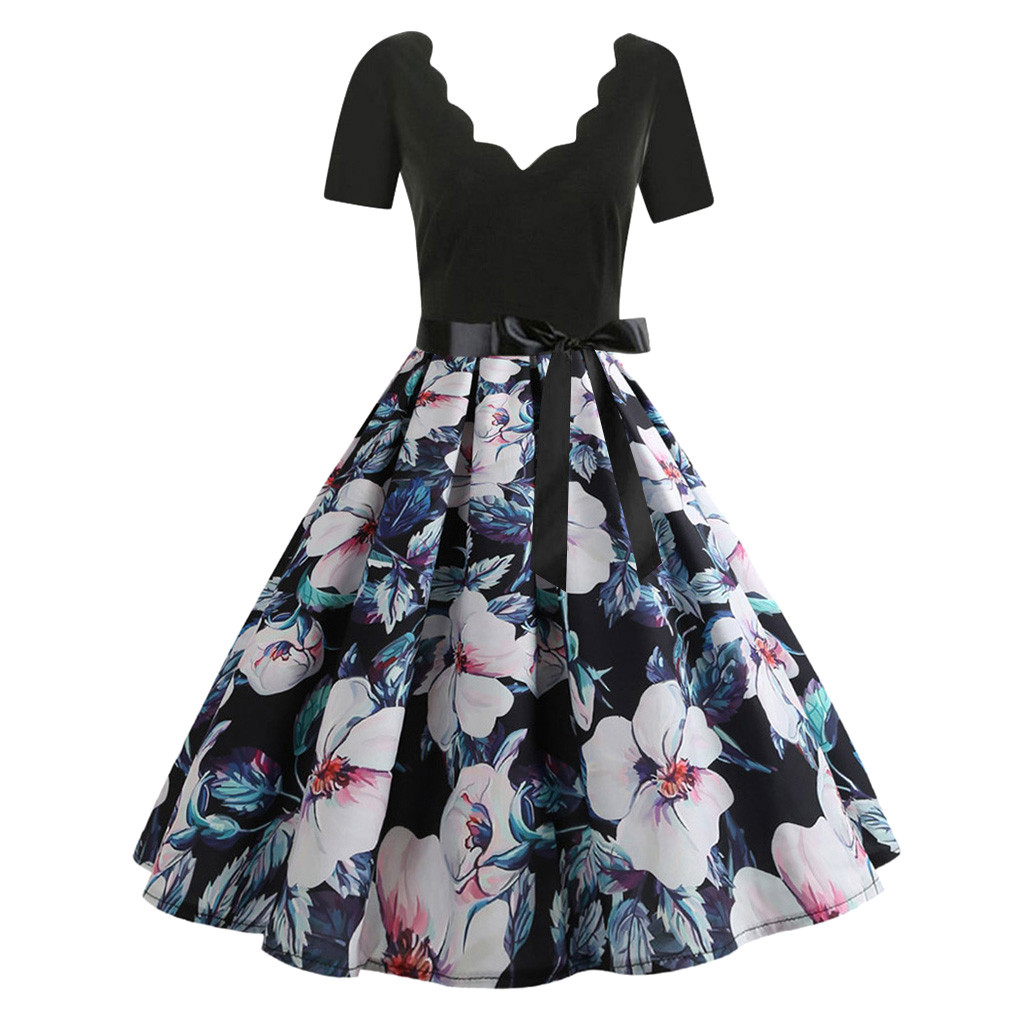 Summer Black Sexy Party Dress Women V Neck Vintage Plus Size Dresses Woman Party Night Boho Luxury Dress Women Clothes 2019