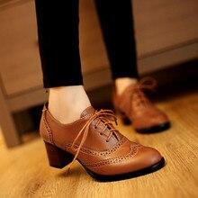 PXELENA zapatos Oxford con cordones Estilo Vintage para mujer, calzado de tacón grueso cortado, de talla grande