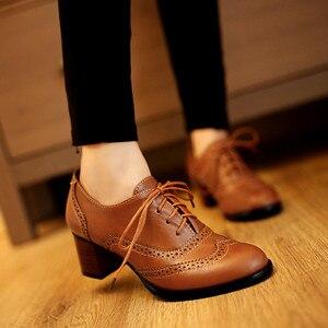 Image 1 - Женские туфли броги PXELENA, винтажные Туфли оксфорды на шнуровке, с массивными блочными вырезами, на каблуке, размера плюс, 2019