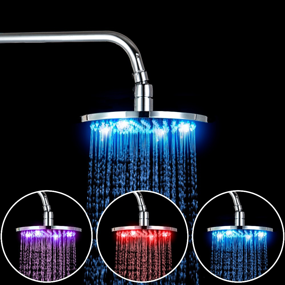 Shivers Luxury Bathroom Rain Shower chuveiro Head 8LED 3 Color Rainfall Shower Head 8102/109 Faucet Mixer Tap Round Shower Head 2012 new free shipping 3 color automatic change led bathroom shower no battery self powered led shower head overhead shower 8