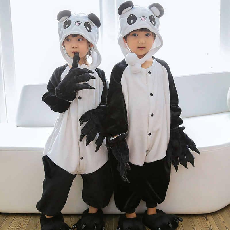 Kigurumi пижамы для детей девочек Единорог аниме панда мультфильм дети  костюм мальчик пижамы одеяло комбинезон ребенка af0864f881f31