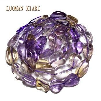 Venta al por mayor grava irregular 8-12mm Natural Ametrinee amarillo púrpura cristal piedra perlas para joyería hacer DIY pulsera collar