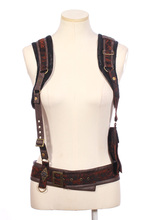 RQ Series Gothic Steampunk Cosplay Women Vest Black Patchwork Waistcoat Sleeveless Short Vest Coat With Adjustable