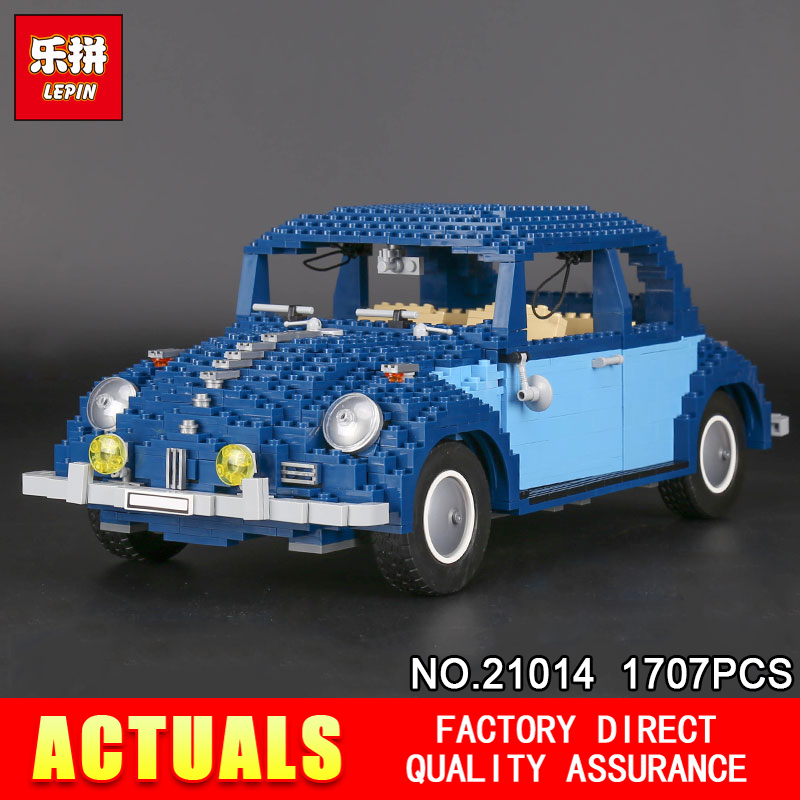 DHL New LEPIN 21014 1707Pcs Classic Beetle Model car Building Kits Blocks Bricks for Holiday Toys 10187 1707pcs new lepin 21014 classic beetle model car building kits blocks bricks for children christmas gifts legoinglys 10187