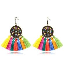 Colours Bohemian Gypsy New Fashion Colorful Big Long Earrings Cotton Thread Tassel Geometric Pendant Drop Dangle Ethnic