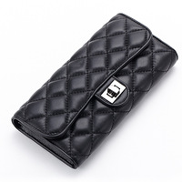 Brand Ladies Sheepskin Leather 3 Fold Long Quilted Wallets European And American Style Bags Lock Genuine