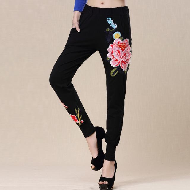 Negro Pantalones de Haroun Ocio de Moda Cintura Elástica de Primavera/otoño de Las Mujeres de Peonía Bordado de Punto de Algodón Pantalones