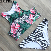 ZMTREE 2017 Sexy High Neck Bikini Swimwear Women Swimsuit Brazilian Bikini Set Zebra Print Top Beach