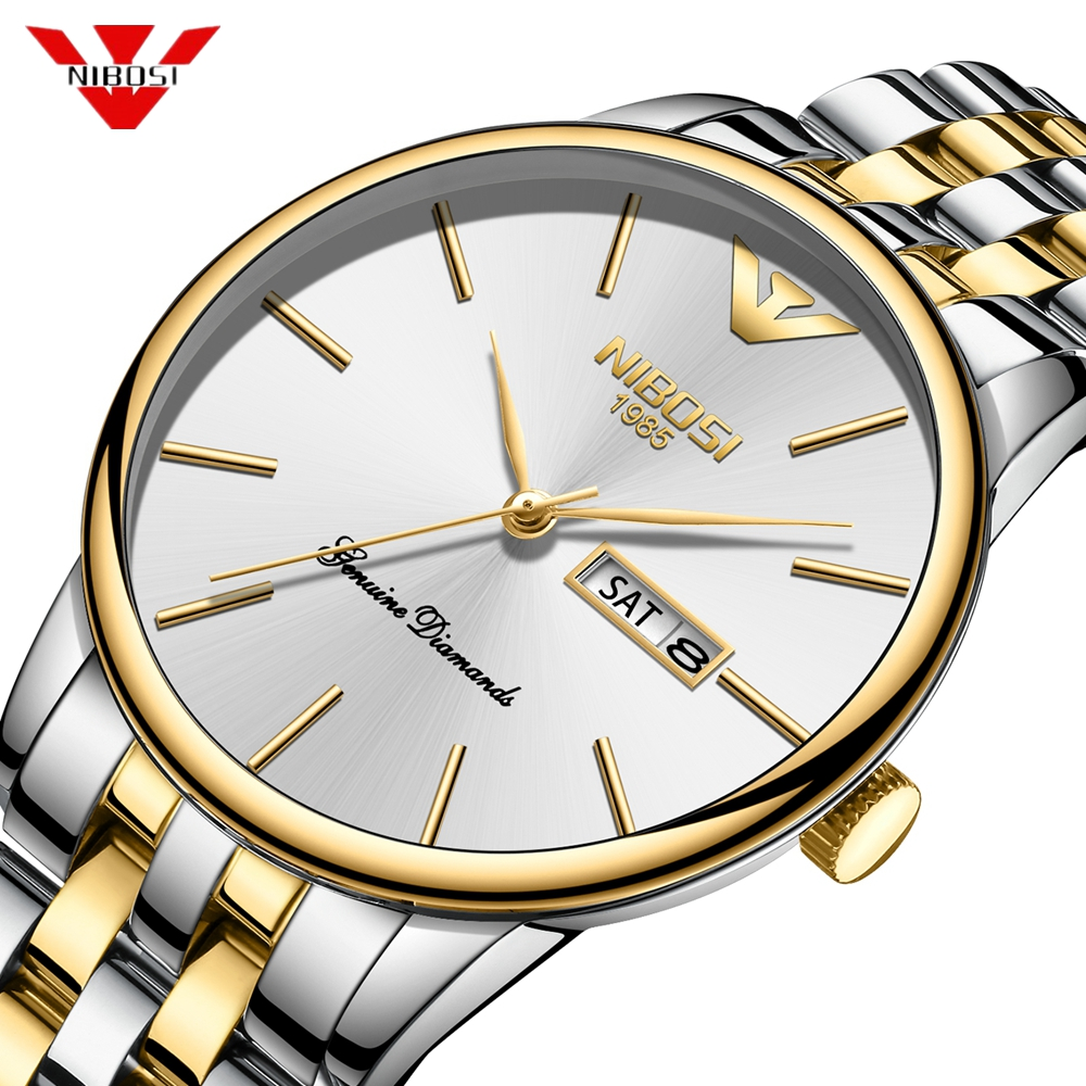 NIBOSI Fashion Luxury Brand Watches Men Stainless Steel Band Quartz Sport Watch Chronograph Men's Wrist Watch Clock Men Relogio