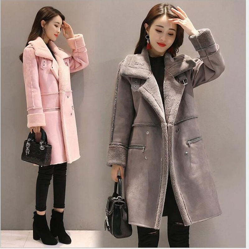 2018 Winter Fashion New Women Casual Loose Suede Lether Thicken High Thermal Women Long Coat Winter Pink Gray Coats Size S 2XL