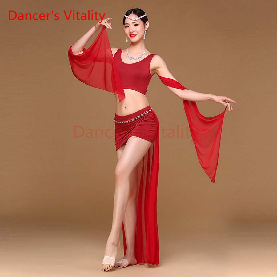 Dancer's Vitality New Women Belly Dance Costumes Modal 2Pcs(Top+Skirt) Oriental Belly Dancing Clothes