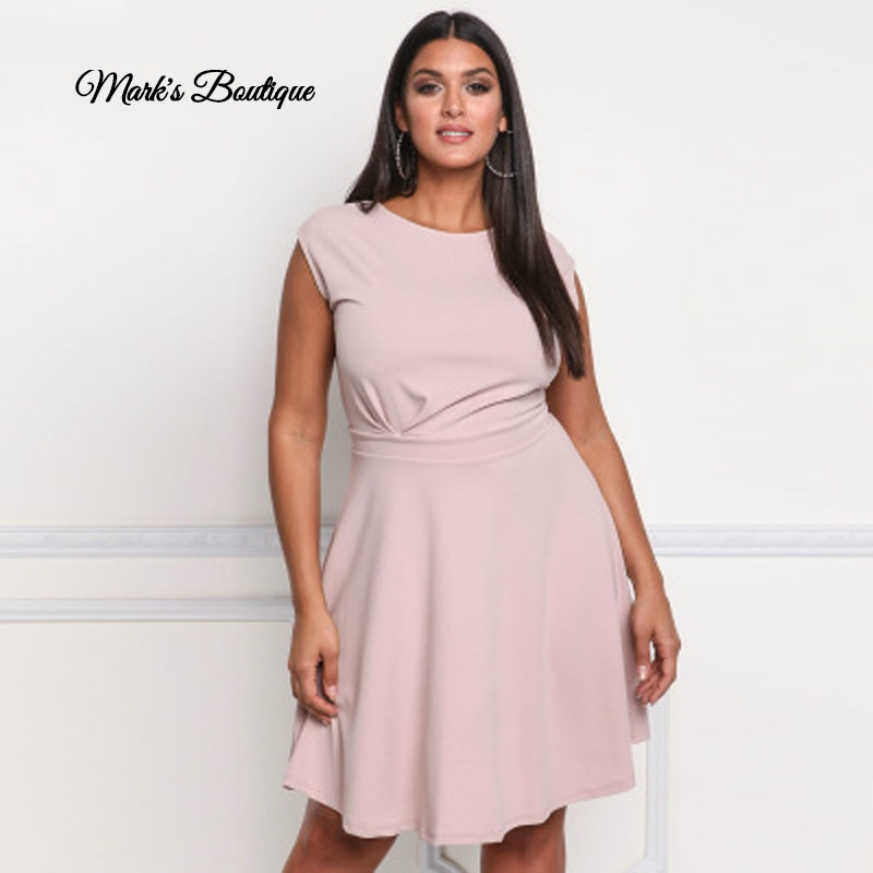 2019 nouvelle mode d'été femmes robe décontracté femmes vêtements sexy et solide régulière sans manches plissée robe de réservoir grande taille 3XL
