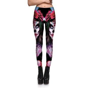 [You're My Secret] 2019 New Leggins Halloween Skull Girl Digital Print Women's Leggings Fantastic Gothic Style Cute Ankle Pant 1