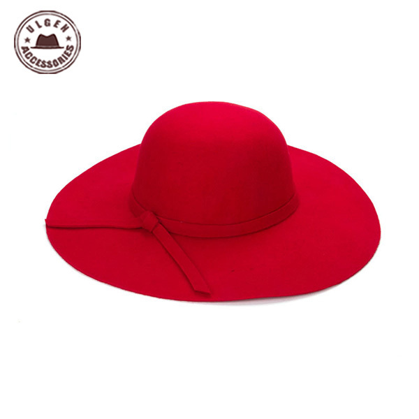 Chapeau Hot Sale Casual Fedora Cap Wide Brimmed Dome Hats High Quality Wool Floppy Hat Womens
