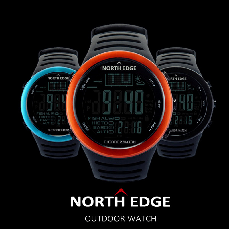 цены NORTH EDGE Brand Multi-Function Digital Watch Men Outdoor Sport Watches Altitude Climbing Hiking Watch Hours Relogio Masculino