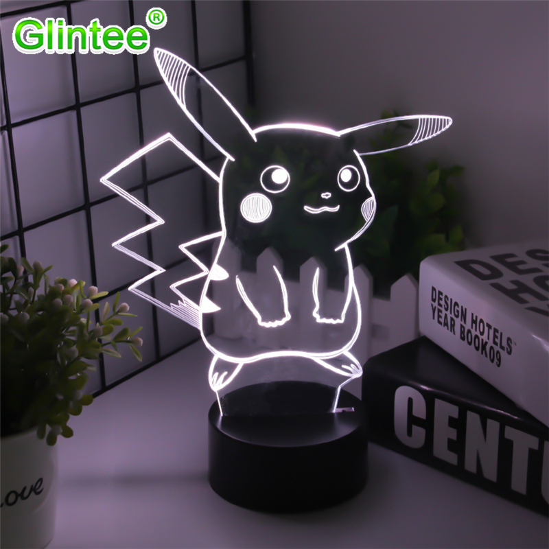 Pikachu Figure 3D Atmosphere Illusion Lamps Nightlight Pokemon Go Night Lights Kids Gifts Cartoon Pattern Desk Luminous Lighting