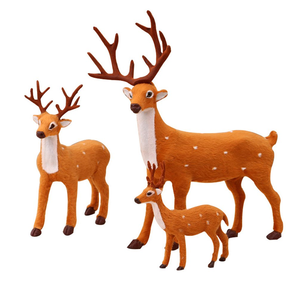 Ornament Christmas Cute Home for Desk-Decoration Simulated Life-Like Deer Sika Small