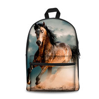 3D Animal Horse Printing Cartoon Primary School Bag Women Backpack Canvas Backpacks for Teenager Boys Girls School Bags Mochila