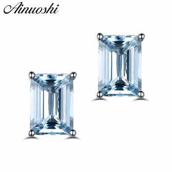 AINUOSHI 2 Carat Natural Light Blue Emerald Cut Earrings Women Engagement Square Stud Earring Anniversary Fine Jewelry Girl Gift - DISCOUNT ITEM  42% OFF All Category