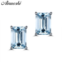 AINUOSHI 2 Carat Natural Light Blue Emerald Cut Earrings Women Engagement Square Stud Earring Anniversary Fine Jewelry Girl Gift