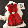 New fashion autumn and winter nautral raccoon dog fur vest women long slim sleeveless real fur vests waistcoats g8937