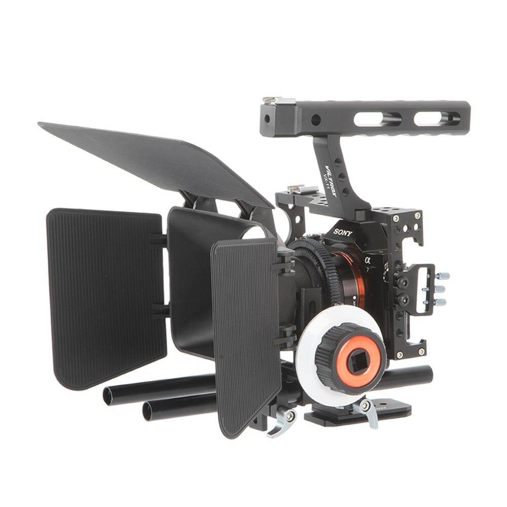 Viltrox VX-11 Vidéo Caméra Cage Caméra Stabilisateur & Follow Focus Mat boîte Pour Sony A9 A6500 A7III A7R DSLR avec Froid chaussures montage