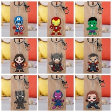 цена 14pcs Super Heros Cartoon Figures Toy Spiderman America Iron Man Thor Captain Hulk Acrylic Pendants Keychain Kids Toys онлайн в 2017 году