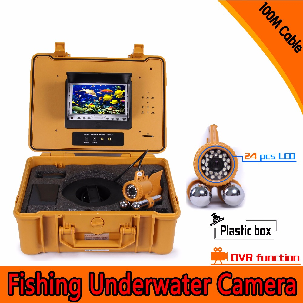 (1set) <font><b>100M</b></font> cable Underwater <font><b>Fishing</b></font> <font><b>camera</b></font> DVR 7 Inch color Monitor 24 white LED Night version Fish Finder Diving surveillance