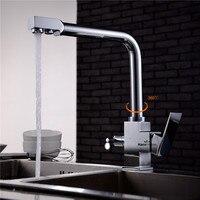 AODEYI хромированной латуни чистой воды Кухня кран на бортике горячей и холодной водой 3 способа питьевой воды кран для раковины, кран для рако
