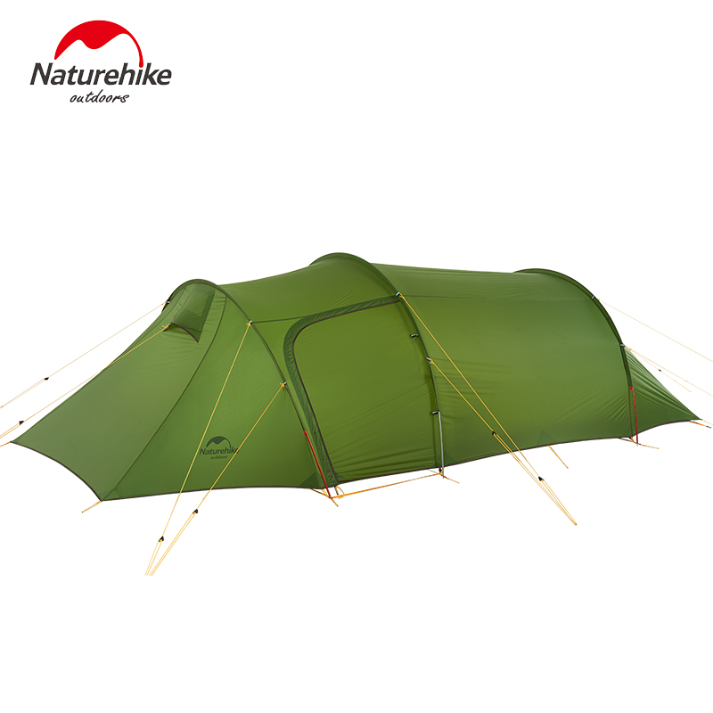 Naturehike Tunnel Tent 3 Person Hiking Camping Tent Two Rooms Ultralight Tunnel Tent With Free Footprint 2018 New Arrived high quality outdoor 2 person camping tent double layer aluminum rod ultralight tent with snow skirt oneroad windsnow 2 plus