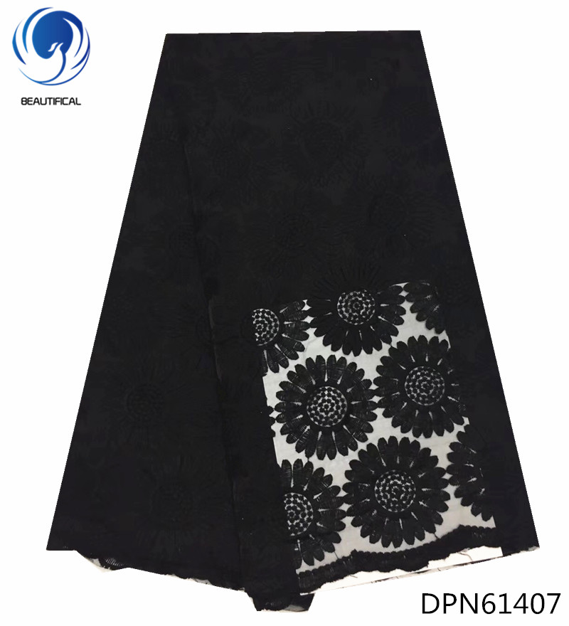 BEAUTIFICAL special offer nigeria french lace latest french laces big flower pattern black african lace fabric 5yards DPN614 in Lace from Home Garden