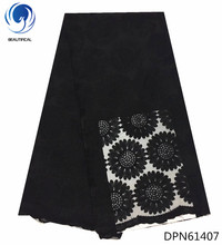 BEAUTIFICAL special offer nigeria french lace latest laces big flower pattern black african fabric 5yards DPN614