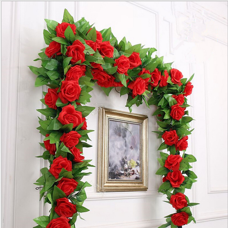 250CM/lot Silk Roses Artificial Flowers With Green Leaves For Home Wedding Decoration 6