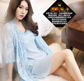 High quality Lace Robe chiffon sling 2 pieces  soft material sleeping wear