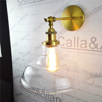 Free shipping half globe clear glass shade antique brass lamp bedroom sconce E27 AC110V/220V edison brass wall lamp up down