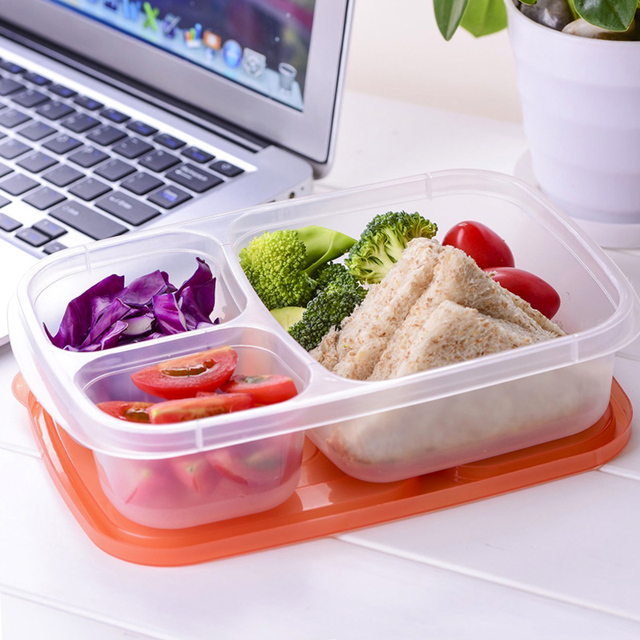 Plastic Bento Lunch Box Microwave Food Storage Containers with