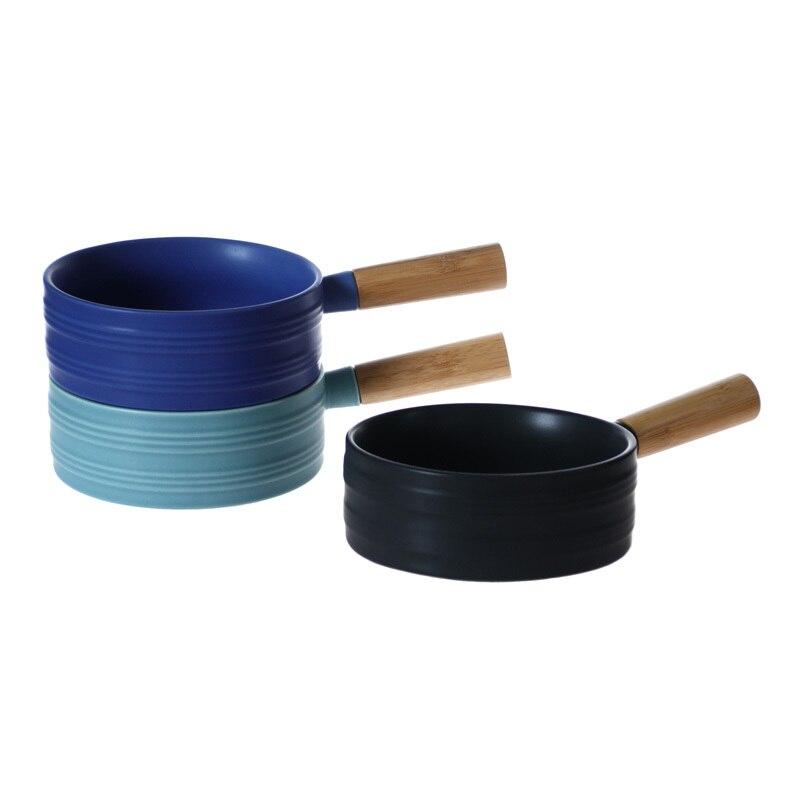 Nordic Ceramic Soup Rice Bowl Sigle Wooden Handle Pan 4