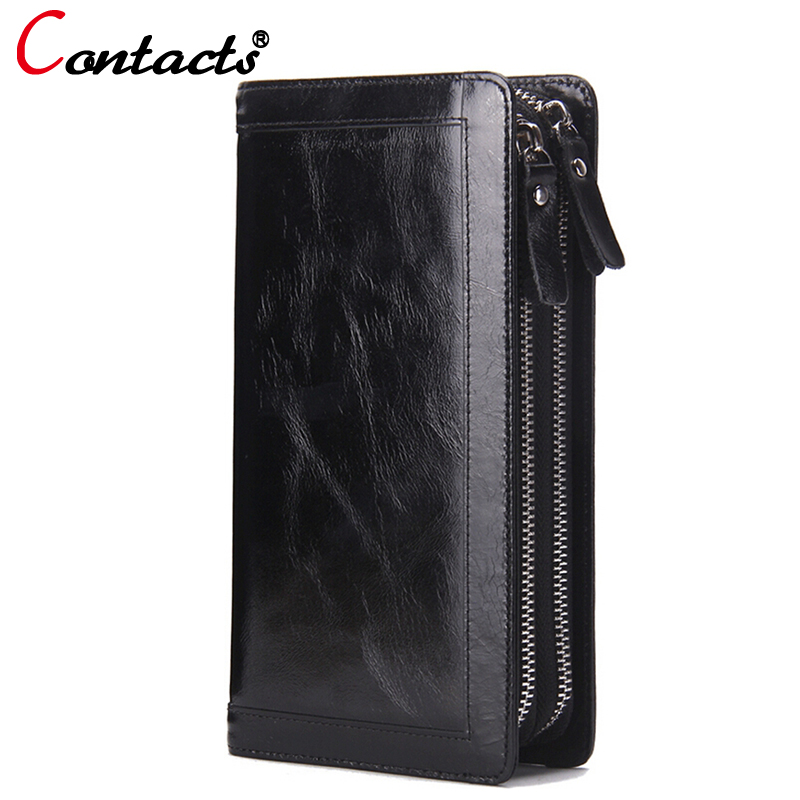 ФОТО CONTACT'S Men Wallets Genuine Leather Clutch Men Cow Leather Long Purses Business Large Capacity Wallets Dollar Price Zipper