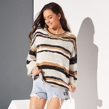 Boho Winter Yellow Casual Travel Beach Plus Size Elegant Women Sweaters Loose Pullover Gray Stripe Female Sweet Tops