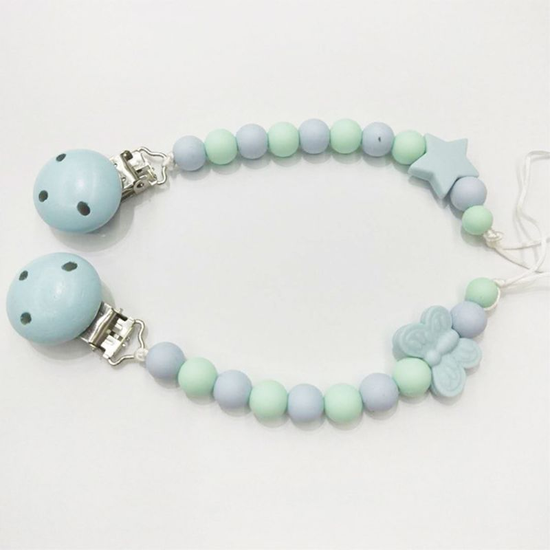 OOTDTY Cute Baby Pacifier Chain Clip Child Bead Silicone Nipple Chains Strap New Holder Newborn Appease Supplies in Pacifier from Mother Kids