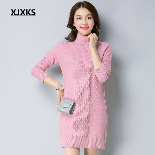 075caa5742f6 US $29.75 10% OFF XJXKS Gute Qualität Neue Herbst 2018 Dick Gestrickte  Kleid Frauen Casual Mode Winter Vestidos Solide Rollkragen Pullover Kleid  in ...