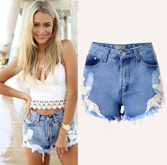 708f847956422 Good quality Sexy Ripped distressed High Waist Shorts Femme mujer Frayed  cutoff plus size denim shorts women Lace Short jeans