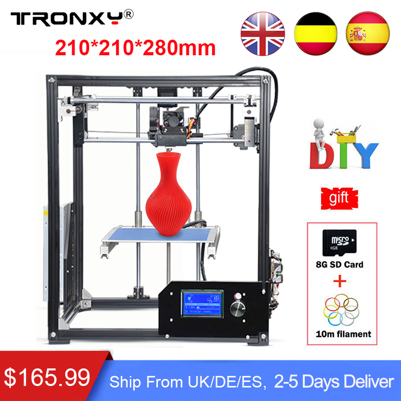 Tronxy Upgraded Quality 3D Printer High Precision Large Printing Reprap 3D Printer DIY kit Extruder +Free 10M filament SD Card tronxy 3d printer all metal upgrade frame 3 3 lcd screen dual z axis extruder 3d printer diy kit 10m filament 8g sd card gift