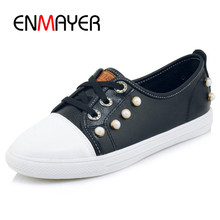 ENMAYER Woman Cusual Shopping Dating Shoes Spring Lace Up Round Toe Black Yellow White Shoes Woman Confortable Sneakers Creepers(China)