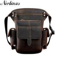 Norbinus Real Cowhide Drop Leg Bag Multi function Messenger Shoulder Crossbody Bag Men Genuine Leather Waist Bags Hip Belt Packs