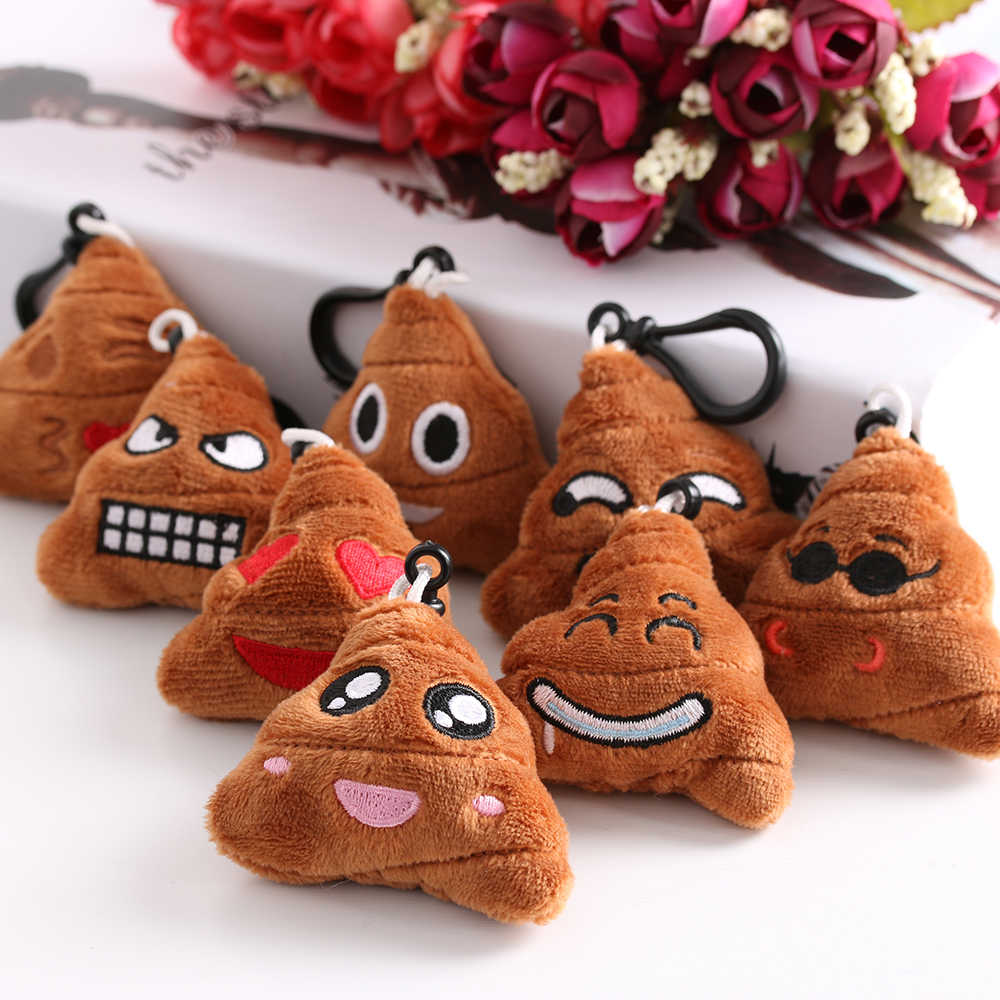 2 PCS Fashion Emoji Smiley Emoticon Key Chain Soft Stuffed Plush Poo Shape Keyring Cushion Doll keychains 8 Styles