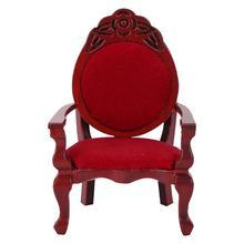 Accesorios para casa de muñecas Mini silla tallada en forma de melocotón 1:12 Mini muebles de decoración Vintage Diy silla tallado de madera melocotón