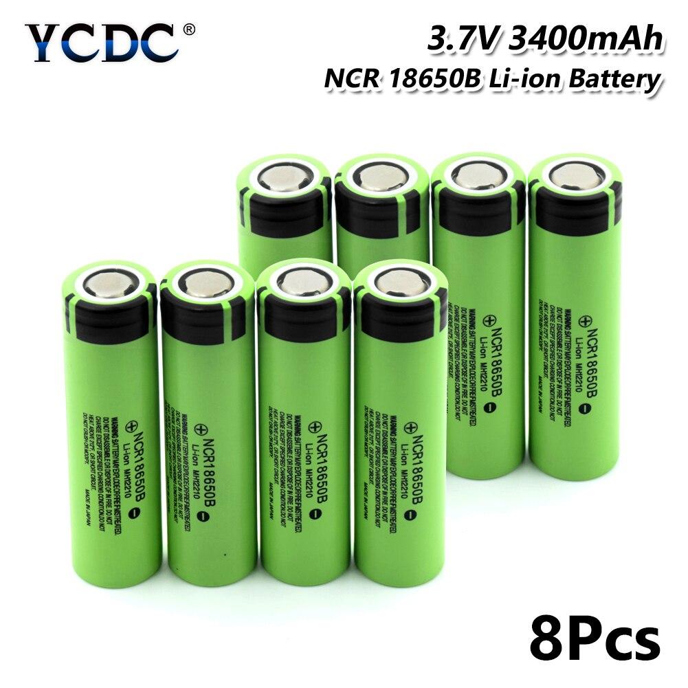 NCR 18650B batterie 3.7 V 3400 mAh cellule Rechargeable pour batterie externe torche 8 pièces pour stylo Laser lampe de poche LED support de batterie
